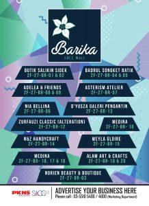 Senarai lot-lot kedai di Barika, Tingkat 2 SACC Mall
